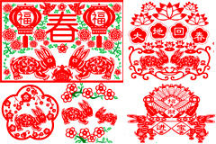 兔年春节剪纸素材