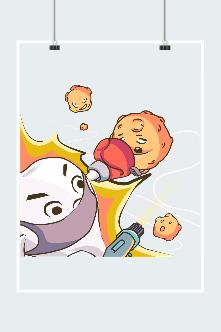 牙齿细菌卡通插画