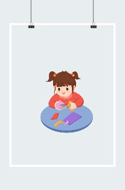 小女孩矢量图