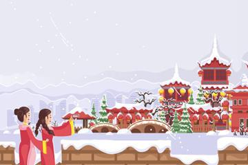 雪中长城风景图片
