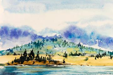 河流山林风景矢量图
