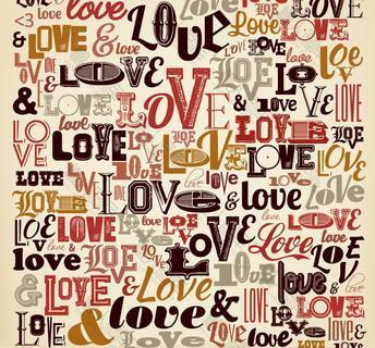 LOVE艺术字无缝背景矢量图
