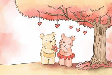 卡通情侣熊矢量图片