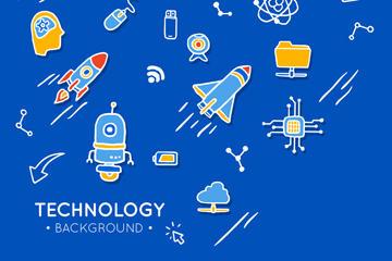 创意高科技元素贴纸背景图片