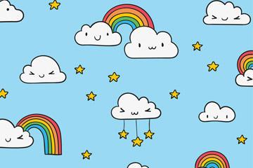 卡通彩虹云朵背景图片