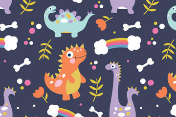 可爱卡通恐龙矢量图背景