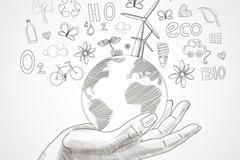 环保地球手绘插画