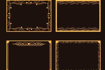 4款金色方形花纹框架矢量图
