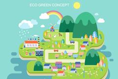 创意绿色环保城市插画
