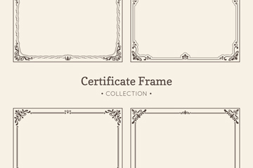 4款复古花纹证书框架矢量素材