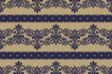 蓝色巴洛克花纹背景矢量素材