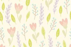 水彩树叶与花朵无缝背景矢量图