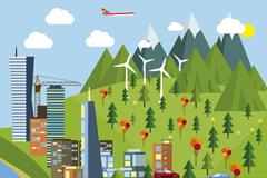环保城市风景插画