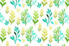 清新水彩植物无缝背景矢量素材