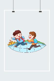 背着书包的小朋友矢量图