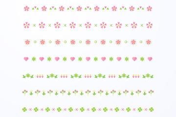 8款彩色花卉花边矢量素材