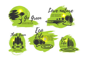 绿色环保生活标志矢量图