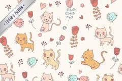 卡通猫咪无缝背景矢量图