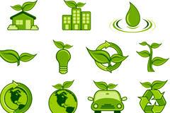 绿色手绘环保图标