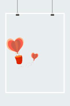 爱心热气球元素