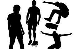 滑板运动人物剪影