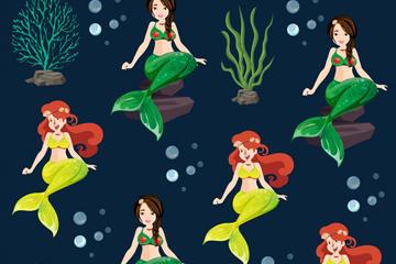 美人鱼插画无缝背景图片