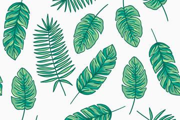 森系植物背景矢量图