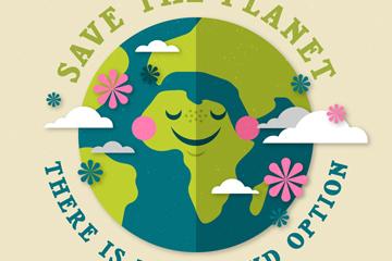 地球环保宣传海报矢量图