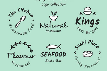 卡通手绘餐馆logo设计矢量图