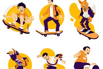 卡通滑板运动人物