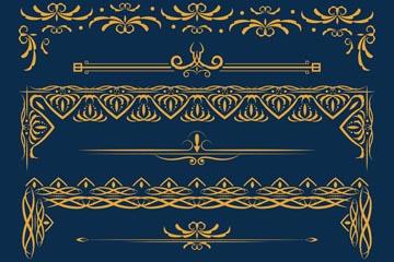 金色古典花纹边框矢量图