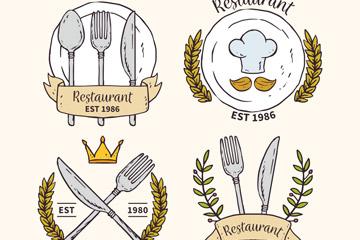 彩绘餐馆标志矢量图