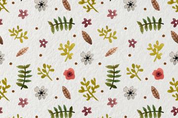 水彩植物花卉无缝背景图