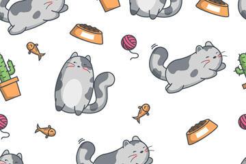 萌宠猫咪无缝背景矢量素材
