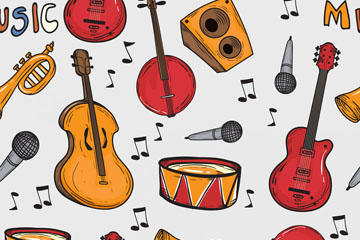 卡通乐器无缝矢量背景图片