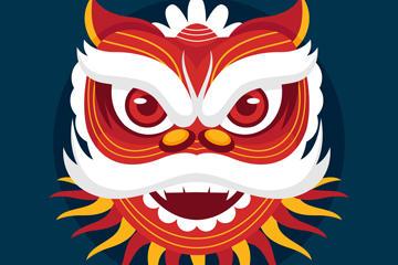 春节舞狮简笔画矢量图