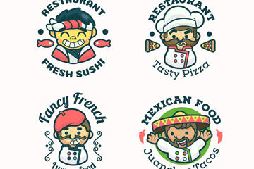 可爱厨师餐馆logo矢量图