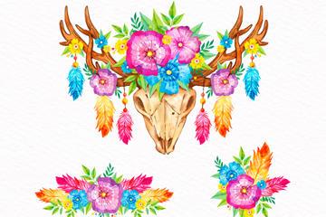 波西米亚风花卉素材