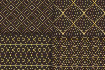4款金色纹理无缝背景矢量图
