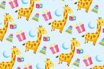 长颈鹿插画背景图片