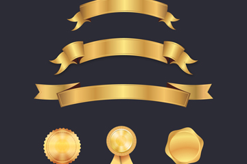 金色丝带条幅和徽章图片