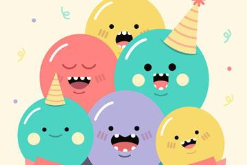 卡通生日气球图片