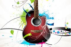 吉他泼墨素材