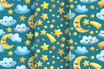 月亮星星无缝背景图