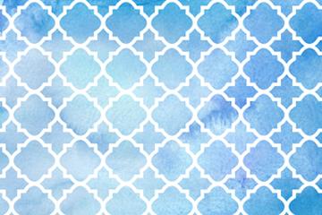 水彩绘蓝底白色花纹背景矢量图