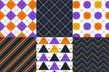 6款几何创意无缝背景矢量图片