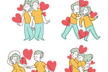 情侣爱心矢量图