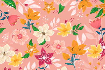 水彩绘花卉无缝背景设计矢量素材