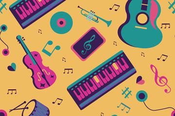 吉他电子琴卡通矢量图片