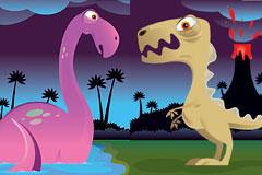 2款可爱卡通恐龙矢量图片